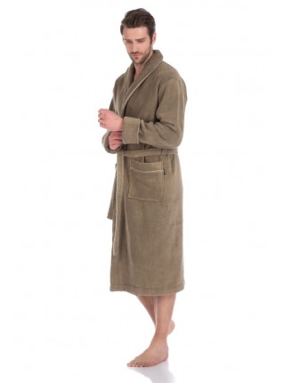 Толстый и плотный махровый халат из микро-коттона (оливковый-хаки)