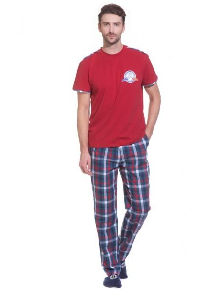 Домашняя пижама BOSS №28 (PM 2148/1) (темно-красный/комбинированный)