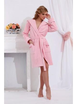 Махровый халат с капюшоном Comprimé (PM 710) (нежно-розовый)