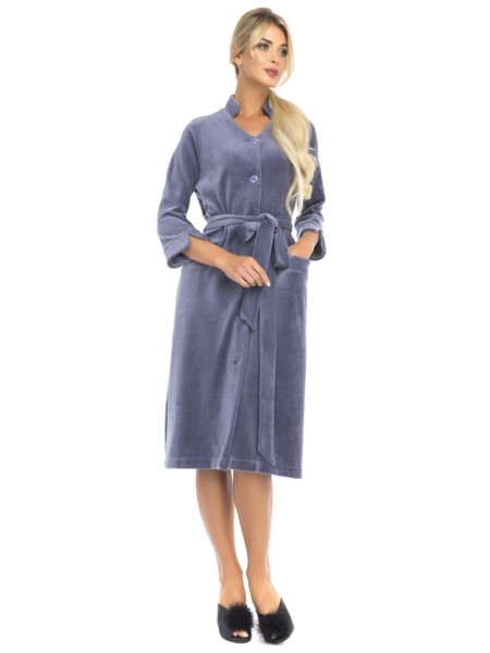 Велюровый халат на пуговицах Universel (PM France 805) (дымчато-синий)