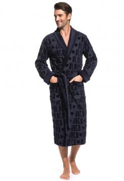 Стильный махровый халат Black Jack (PM France 937) (тёмно-синий)