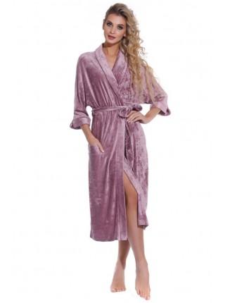 Элегантный велюровый халат Expressive (PM France 398) (тёмно-сливовый)