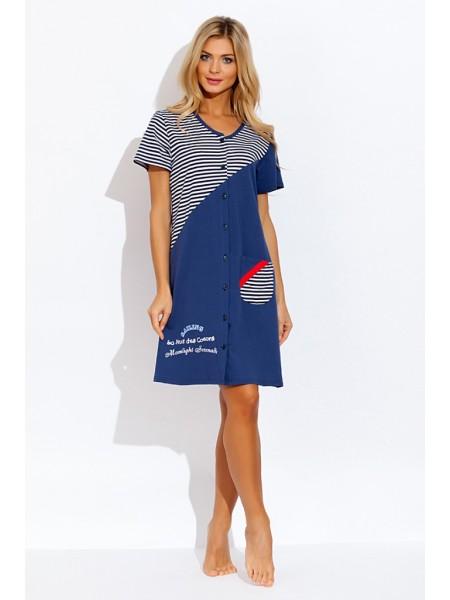 Трикотажный халат для дома и отдыха Sailing (Е 42169) (светло-синий)