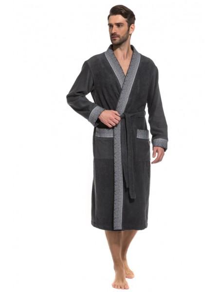 Стильный махровый халат Idéaliste (PM France 939) (темно-серый)