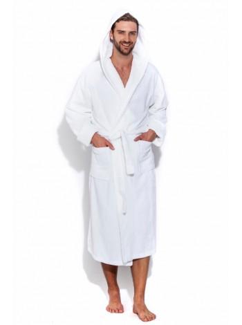 Мужской махровый халат с капюшоном SPORT&Life (Е 901-1) (белый)