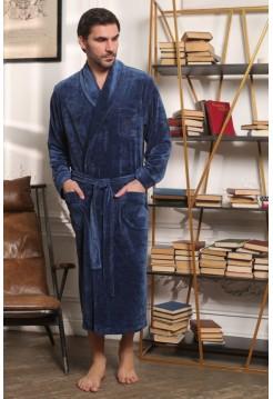 Велюровый мужской халат Harvard (EFW) (джинс)