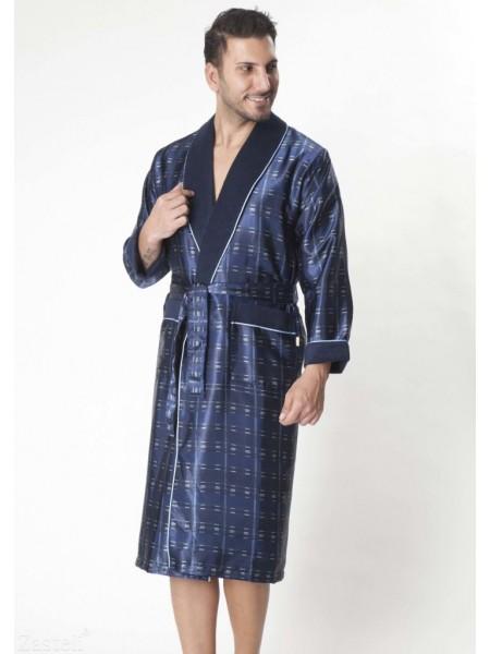 Мужской шелковый халат Steel blue (8015) (насыщенный синий)
