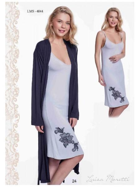Комплект халат и сорочка Luisa Moretti (ESC 4044) (черный/серый)