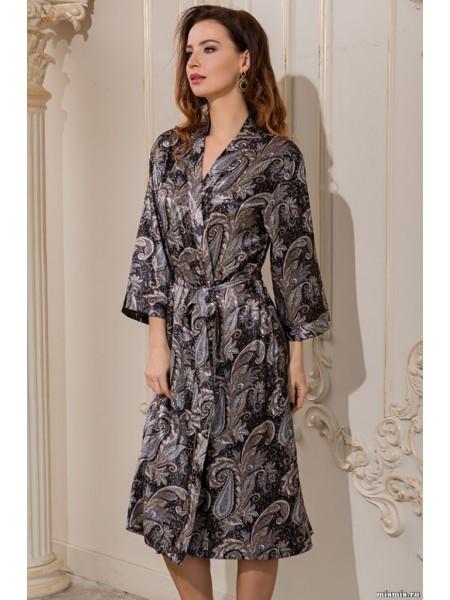 Длинный классический халат–кимоно из натурального шелка Donatella (3129) (бежевый)