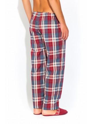 Мужские домашние брюки VIKING №002 (PM UD-527) (бордовая клетка)