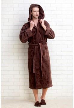 Махровый халат с капюшоном STRONG SPORT(PM 921) (темный шоколад)