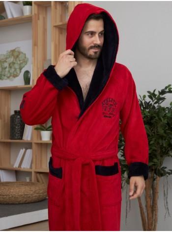 Спортивный бамбуковый халат АТЛЕТИК (EFW) (красный/синий)
