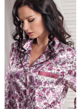 Халат-рубашка из натурального шелка Ofelia (EMM 3065) (лиловый)