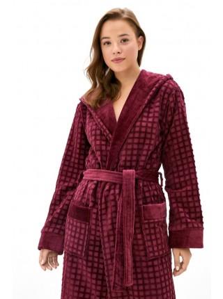 Махровый халат с капюшоном из микро-коттона Ultra Doux (PM France 741) (сливовый)