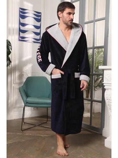 Мужской халат с капюшоном College (EFW) (синий)
