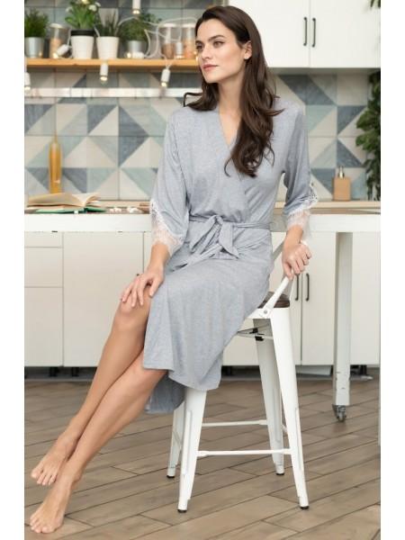 Легкий домашний халат из вискозы Medeya (EM 6493) (меланж серый)