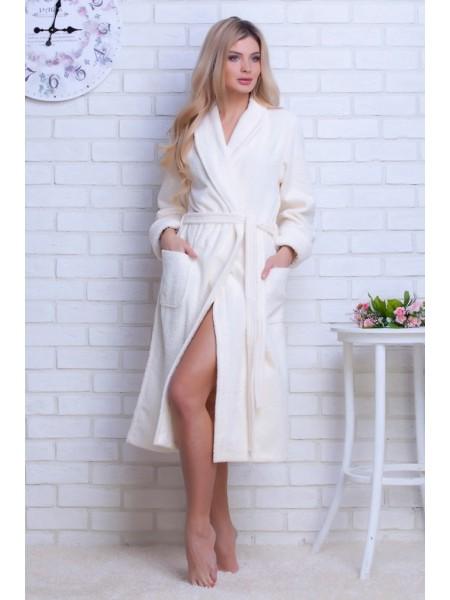 Женский махровый халат Цвет: кремовый (крем)