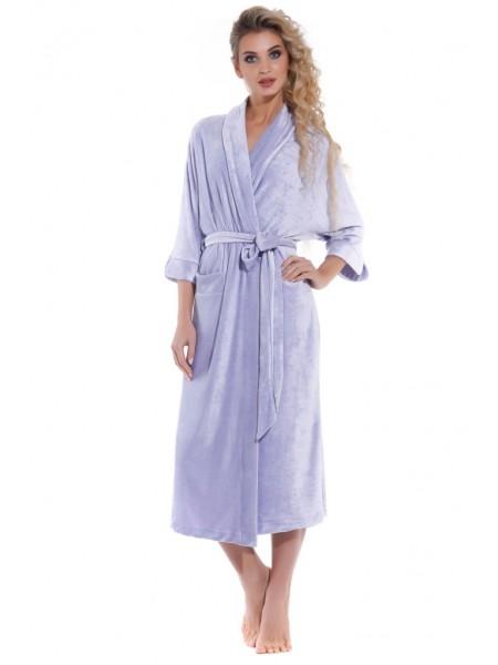 Элегантный велюровый халат Expressive (PM France 398) (светло-сиреневый)