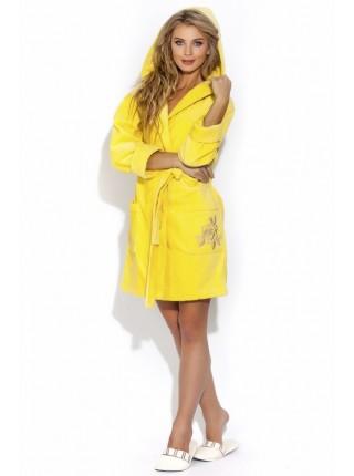 Нежный махровый халат с капюшоном Le Rosé (PM 727) (лимонный)