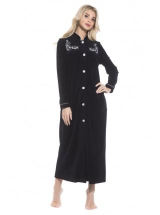 Удлиненный велюровый халат на пуговицах AURORE (PM 391) (Noire (черный))