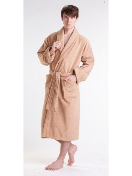 Мужской махровый халат Цвет: бежевый (светло-кофейный)