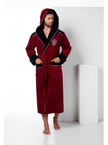 Махровый халат с капюшоном из бамбука Atletic Sport (EN 2810) (бордо)