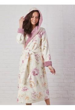 Махровый халат с капюшоном MADONNA (EFW) (сухая роза)
