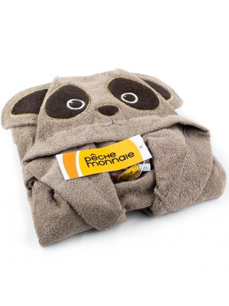 Детский махровый халат Brown Panda (PECHE MONNAIE France 7) (тёмно-бежевый)