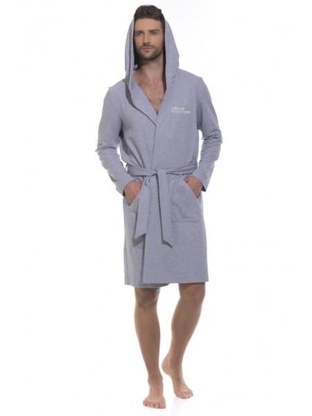 Трикотажный халат с капюшоном Sport's Idol (PM France 410-1) (серый меланж)
