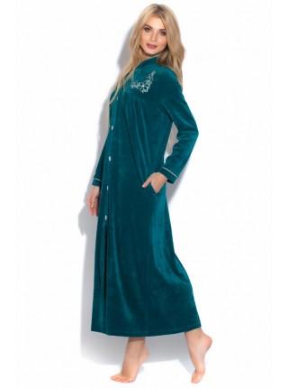 Удлиненный велюровый халат на пуговицах AURORE (PM 391) (Emeraude (изумруд))