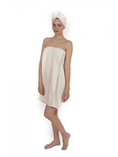 Женский набор для бани и сауны Classic Cotton - Кремовый (EVA) (кремовый)
