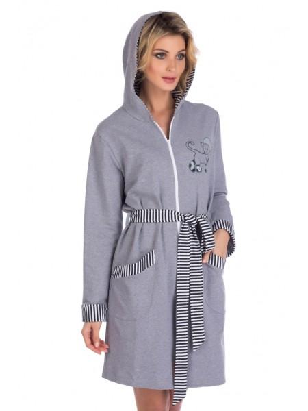 Легкий трикотажный халат с капюшоном Jolly (E 1425) (нежно-серый)