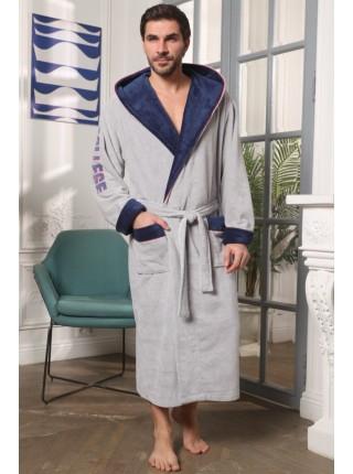 Мужской халат с капюшоном College (EFW) (серый)