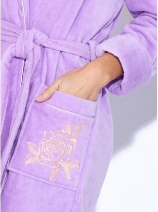 Укороченный махровый халат с капюшоном Le Rosé (PM 727) (нежно-лиловый)