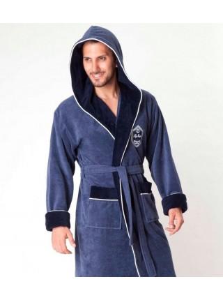 Укороченный махровый халат с капюшоном из бамбука Marksman (EN 7160-1) (дымчато-синий)