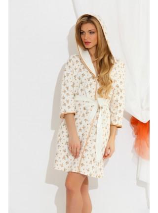 Легкий трикотажный халат из бамбука Butterfly (EP 5662) (белый с бежевым)
