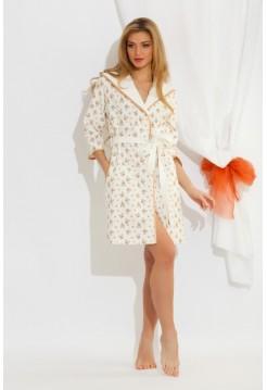 Легкий трикотажный халат из бамбука Butterfly (EP 5662) (белый с золотисто-бежевым)