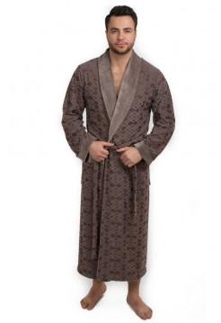 Велюровый халат из бамбука DYLON (EPP M121) (капучино (бежевый))