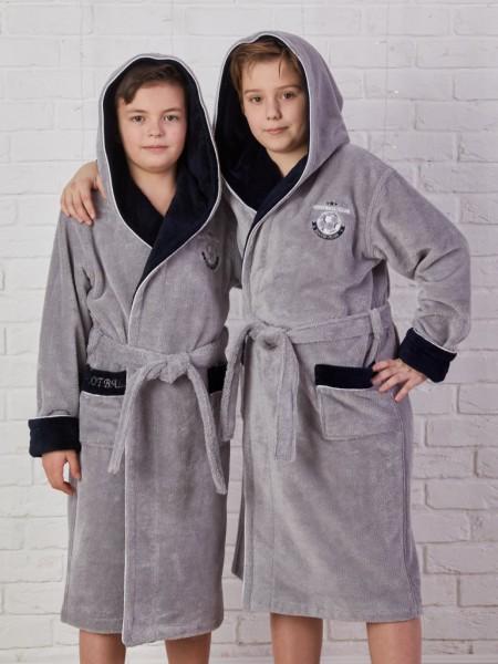 Подростковый бамбуковый халат Ronaldo (EFW) (серый)