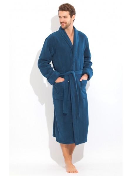 Толстый и плотный махровый халат из микро-коттона (Blue marine (синий))