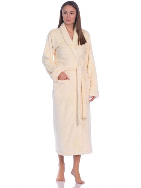 Удлиненный пушистый халат из велсофта Tendre (PM France 745) (молочный)
