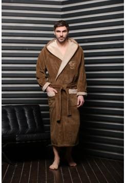 Спортивный бамбуковый халат АТЛЕТИК (EFW) (табак)