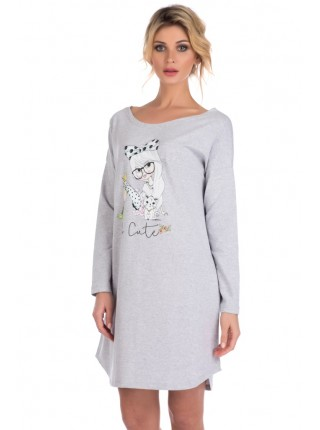 Домашняя туника - сорочка из натурального хлопка Lucky girl (E 1424) (серый меланж)