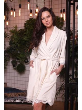 Легкий бамбуковый женский халат Mirabella (EFW) (крем)