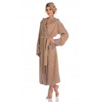 Удлиненный махровый халат с капюшоном La Reine (PM 914) (бежевый)