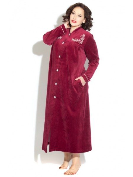 Удлиненный велюровый халат на пуговицах AURORE (PM 391) (Cerise (темная вишня))