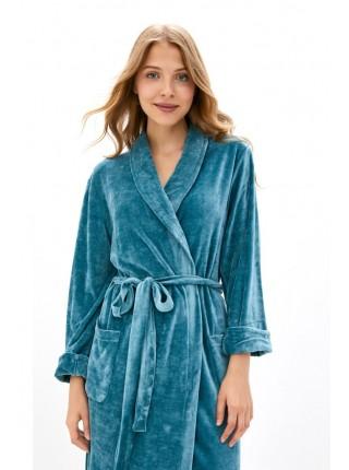 Элегантный велюровый халат из вискозы Passion (PM France 807) (виридиан)