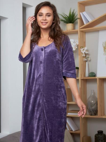 Велюровый халат из бамбука Adel (EFW) (слива)