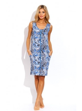 Легкий трикотажный халат (Е 1004 - 4) (синий с серым)