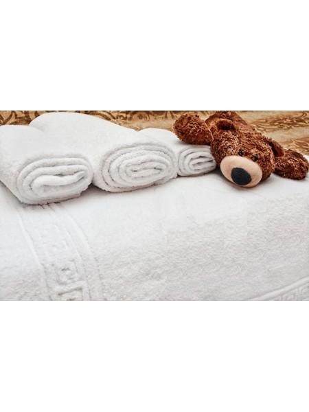 Полотенца махровые гладко-крашенные, греческий узор(не усаживается!). От 120 руб. (Белый)